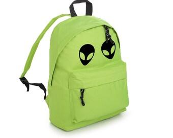 Alien Backpack School Bag Rucksack Sports Travel Tumblr Funny Hipster Grunge Fun Festival Retro Vtg Goth Kawaii Cute Fashion Green Space