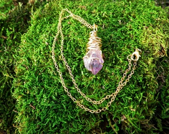 Amethyst Crystal Wire Wrapped Gold Coloration