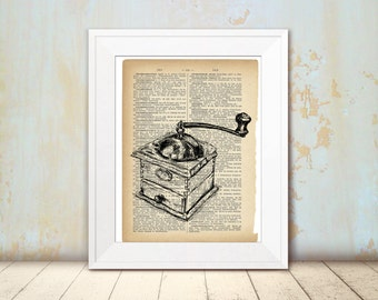 Dictionary art, Antique coffee grinder, Printable kitchen decor, Art print, DIY home decor, Hostess gift