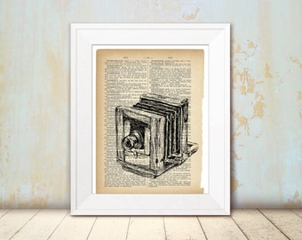 Book art, Antique camera, Photographer gift, Camera sketch, Hipster room decor, DIY home decor, Christmas gift, Instant download