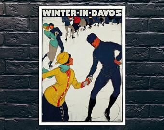 Winter in Davos Vintage Travel Poster, Vintage Ski Poster, Tourism Wall Art, Vintage Travel Poster