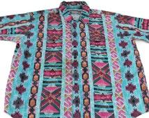 PLAINSMAN For BIG MEN Vibrant Vintage Short Sleeve Button Front Shirt Size 3X Tribal Pattern