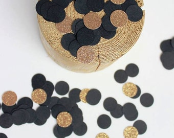 Black and Glitter Gold Confetti, Bridal Shower, 30th Birthday Confetti, Table Scatter, Black Gold Dots Confetti,Circle Confetti