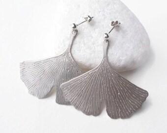 Large Ginkgo Leaf Earrings | Botanical Jewelry | Sterling Silver Japanese Gingko Leaf Earrings | Nature Inspired Jewelry | Boho Earrings