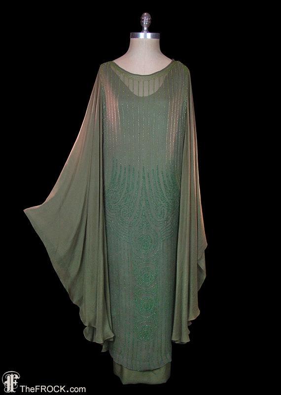 Flapper Dress 1920 Art Deco Gown Beaded Silk Chiffon Angel