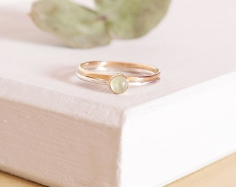 Sterling silver Prehnite Ring with 9ct Gold band