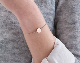 Personalised Skinny Initial Bracelet, Personalised bracelet, Bracelet, Rose gold, Silver, Womens jewellery, Gifts for her, Bridesmaid gift