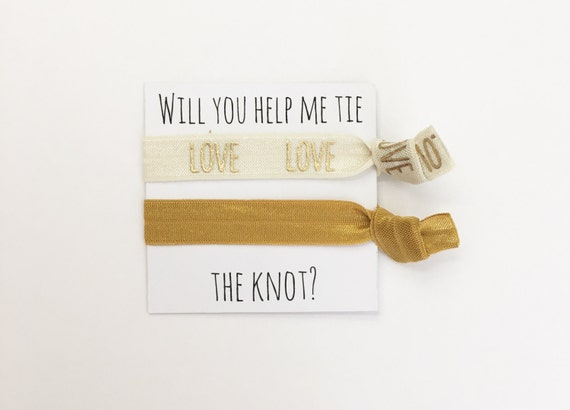 Bridesmaid hair ties//mustard cream love, hair tie favors, hair tie cards, bachelorette party, party favor, bridesmaids, wedding