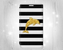 Black and White Striped Gold Dolphin iPhone 6S 6 Plus 6+ SE 5 5S 5C 4 Samsung Galaxy S7 Edge S6 Edge Plus S5 Note 5 4 Leather Flip Case