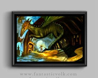 Dragon master fantasy art illustration download print art print download fantastic illlustration print Artist print dragon  fantasy art