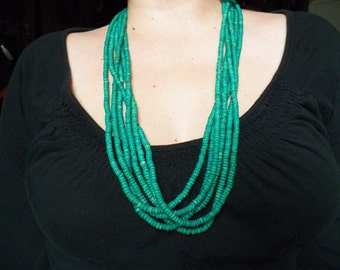 Turquoise Green Beaded Multi-Strand Necklace