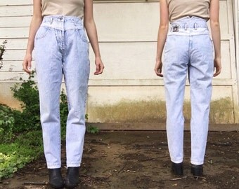 Vintage 80s Eurocity High Waisted Striped Light Acid Wash Tapered Mom Jeans Small Medium