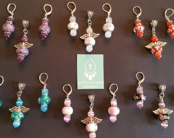 SALE! Angel European Charm Murano-Style Glass Lampwork Bead Pendant and Earrings SET--You Choose Color!