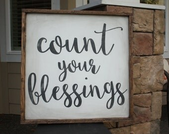 COUNT YOUR BLESSINGS small wood sign