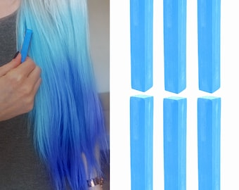 6 Best Temporary Aqua Blue hair Dye for dark and light hair - Set of 6 | DIY Blue hair Chalk for easy and simple hair coloring at home