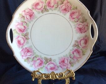 1910s Shabby Chic Cottage Style Antique Prince Regent China Bavaria L.D.B.C Serving Tray/ Cake Plate Pink Roses