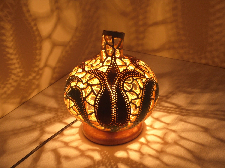 100 Handmade Gourd Lampk Rbislampe Handcrafted Ottoman Table