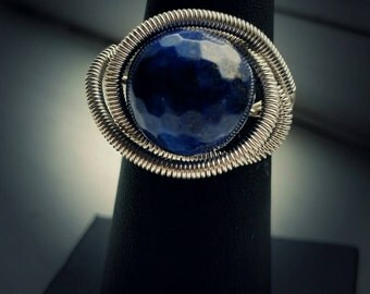 Statement Wire Wrapped Lapis Lazuli Ring, Silver Plated Wire.