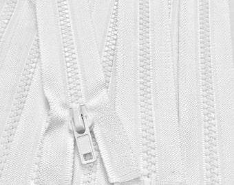 28 Inch White Plastic Molded Zipper 5mm Separating (OPEN BOTTOM) - 1 Zipper