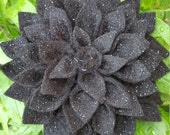 Brooch - Black Glitter Felt Fabric Flower