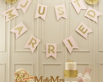 Just Married Wedding Bunting - Pastel Pink and Glitter gold