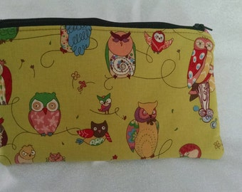 Owl fabric zippered pouch bag purse unique print