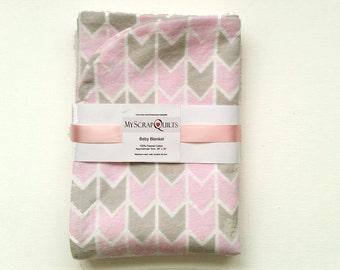 Flannel Baby blanket - Receiving Blanket - Swaddle Blanket - Baby Girl Blanket