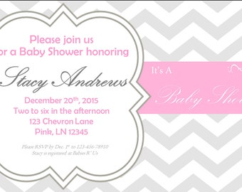 Pink and Gray Chevron Baby Shower Invitation