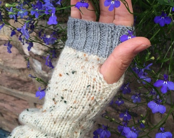 Hand knitted, fingerless gloves/ wrist warmers
