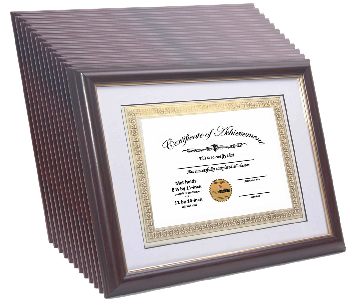Certiicate Frame Mahogany W Gold Displays 8 5 By 11
