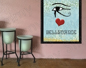 Bellydance Wall Art, I Love Bellydance, I Heart Bellydance Wall Poster Downloadable DIY Printable