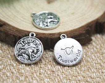 12pcs of Antique silver Taurus charms pendants, Zodiac Charm 20x18mm D1591
