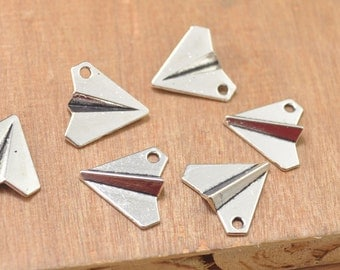 30pcs Paper Airplane Pendant . Paper Airplane Origami Charms,Jewelry Craft Supply,3D Antique Silver zinc alloy pendant beads--17x18mm