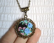 Pendant  polymer clay   Jewelry polymer clay  Floral Jewellery Romantic pendant Pendant Handmade Flowers Nature Pendant Unique Pendant
