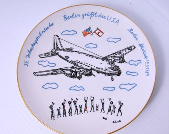 Aircraft KPM Collectors Plate 1984 Commemorative Berlin Airlift US Air Force  Germany Print Armed Forces Ceramic Limited Edition