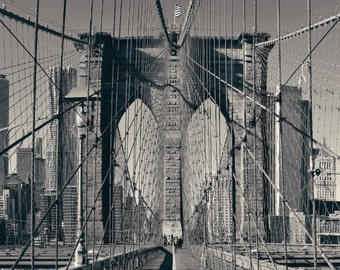 Single New York Brooklyn Bridge Canvas Wall Art, Black and White New York Photo, New York Art, New York City, Large Canvas, New York Bridge