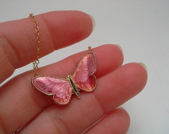 Butterfly Necklace, Vintage, Gold Filled Chain, Guilloche Butterfly, Enamel Butterfly, Butterfly Pendant, Guilloche Necklace