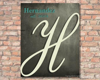 Your Family Monogram - Gray and Teal - Canvas Wall Decor - Canvas Wall Hanging - Wall Art