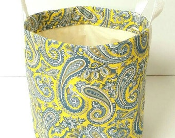 Yellow/blue/white floral toy/fabric/clothes/item bin/basket with handles