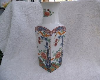 "Beautiful Miyako Imari Ware 10"" Vase Handcrafted Porcelain Japan Floral/Bamboo-Excellent Condition."