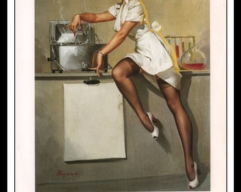 """Gil Elvgren Vintage Pinup Illustration """"Now Don't Ask Me What's Cooking 1948"""" Sexy Pinup Mature Wall Art Deco 1995 Book Print 9 3/4"""" x 14"""""""
