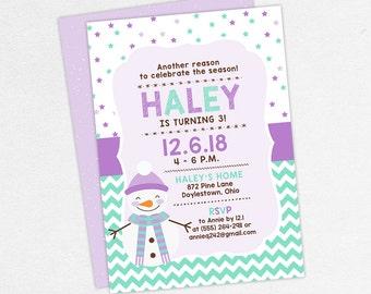 Snowman Birthday Invitation, Birthday Invitation PDF, Printable Birthday Invitation, Printed, Girl Invitation, Snowflake Party, Winter Party