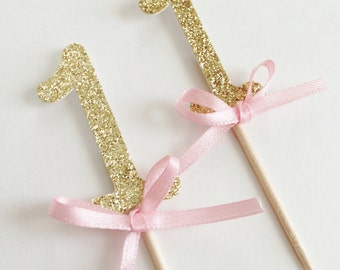 Number One Cupcake Toppers ~Pink and Gold First Birthday~ First Birthday ~ First Birthday Pink and Gold