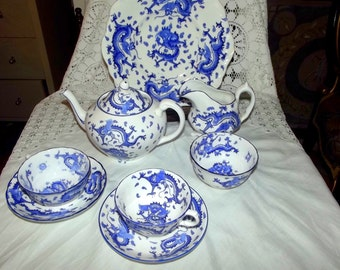 Tuscan China Dragon Pattern Porcelain Tea Set for two late 19th century early 20th
