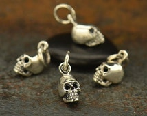 Mini Sterling Silver Skull Charm