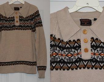 Vintage 70s Cobb Hill ETHNIC Snowflake SKI Dress RETRO Sweater Wood Button M