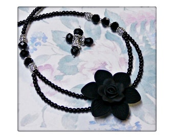 Necklace and earrings set, black flower and pearls, clip on or pierced