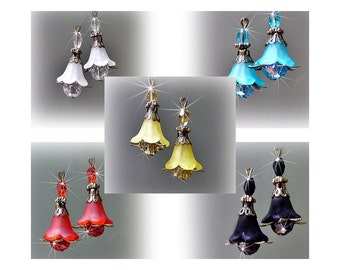 Earrings lucite flower with crystal, choose color and clip on or pierced fittings