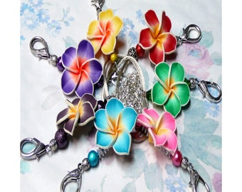 Tropical Frangipani lanyard necklace work security id badge holder