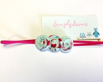 Baby Headband, fabric roses baby headband